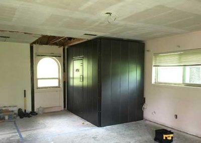 5x8x8 storm shelter install in bedroom