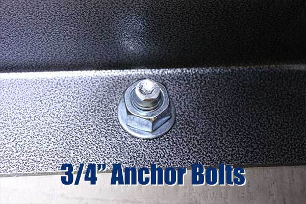 "3/4"" Anchor bolts placed every 12"" (except under the door)"