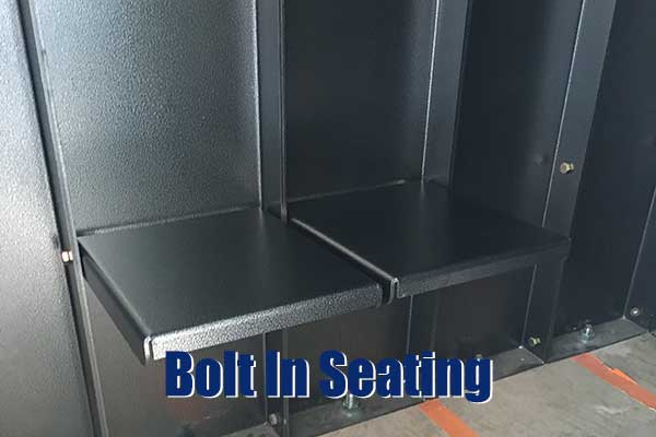 storm shelters with bolt in seating